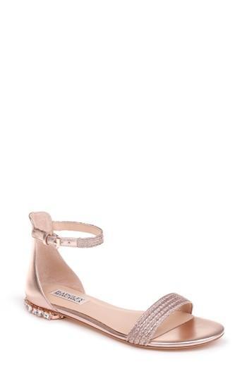 Badgley Mischka Steffie Ankle Strap Sandal In Rose Gold Leather