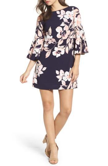 3af4d018 Eliza J Bell Sleeve Shift Dress In Navy/ Blush | ModeSens