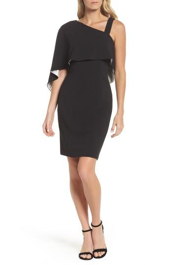 d15ff0eb Adrianna Papell Crepe One-Shoulder Cape Dress In Black/ Ivory | ModeSens
