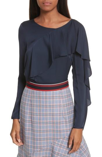 Milly Stretch Silk Ruffle Top In Navy