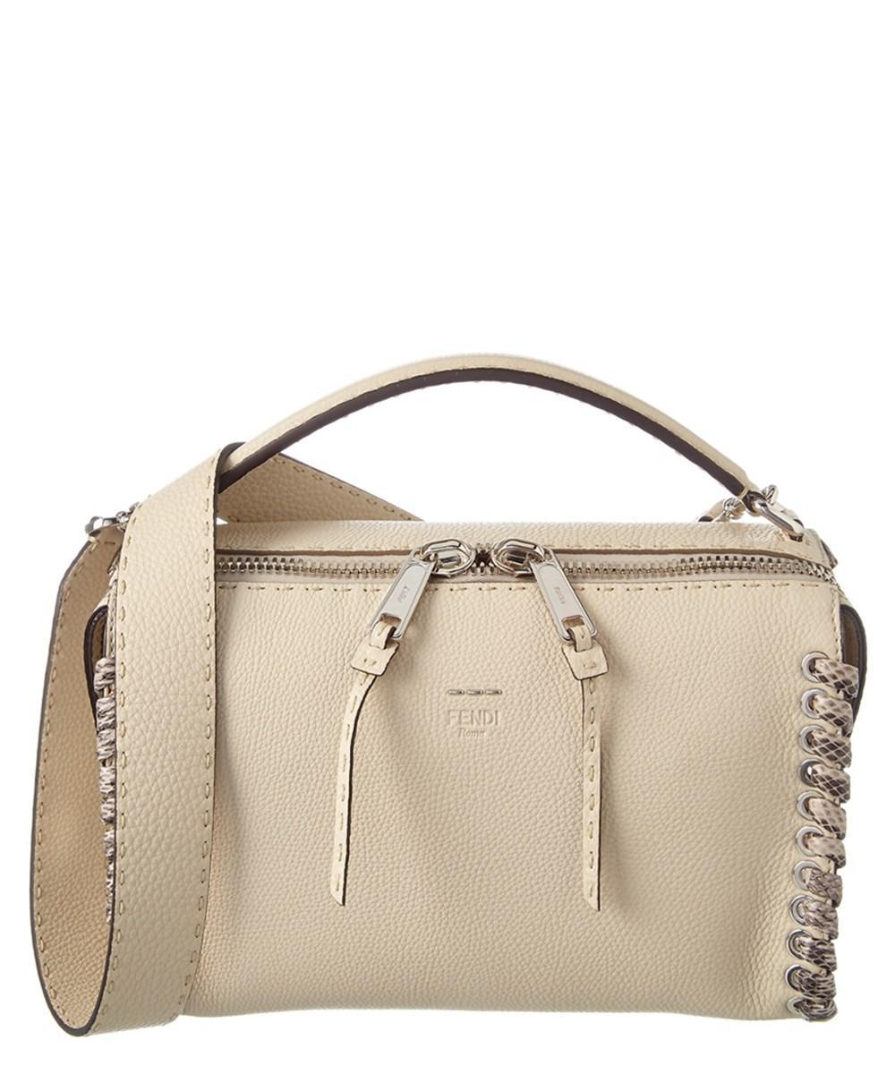c40119999108 Fendi Lei Selleria Whipstitch Leather Boston Bag In White