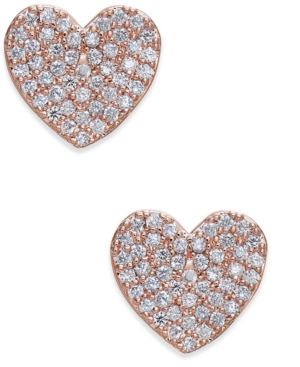 b14a59813eeb3 Yours Truly Pave Heart Stud Earrings in Clear/Rose Gold