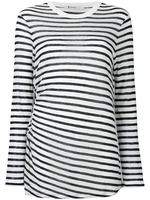 T By Alexander Wang Striped Cut Out Top In Blue