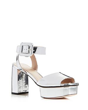 4d97bf1df1a Stuart Weitzman Women s Newdeal Leather Platform Ankle Strap Sandals In  Silver Tin