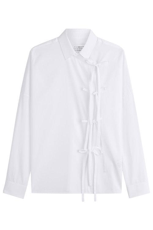Maison Margiela Cotton Shirt With Self-tie Detail In White