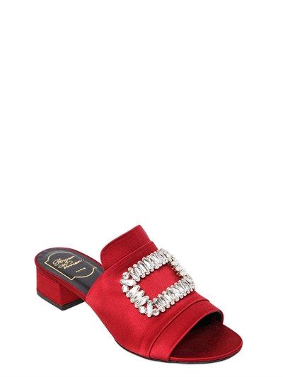 Roger Vivier Slipper New Strass Crystal-embellished Satin Sandals In Dark Red