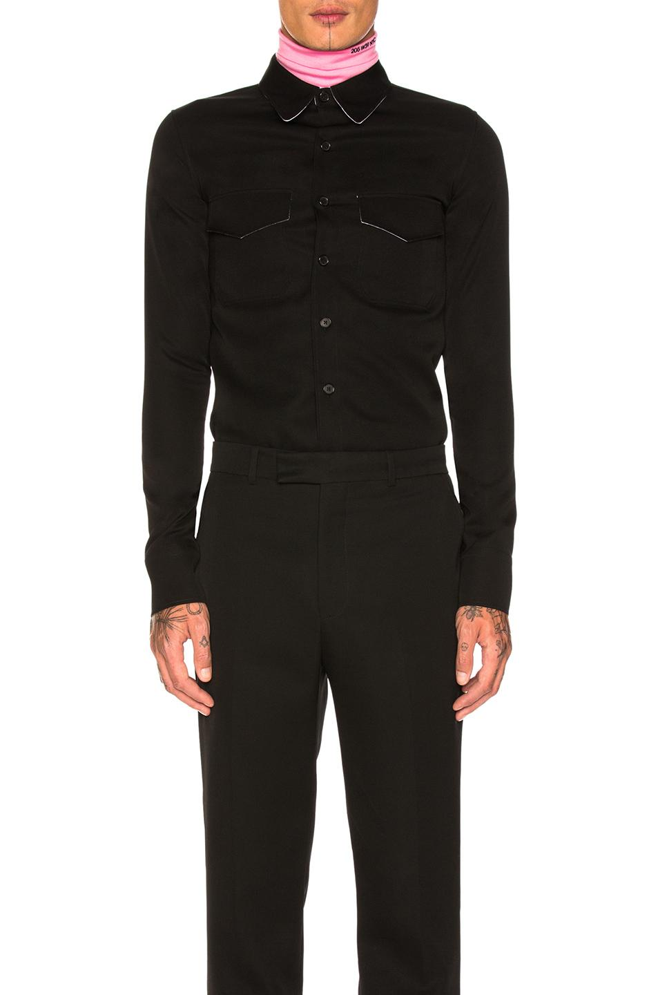 Calvin Klein 205W39Nyc Western-Pocket Wool Shirt In Black