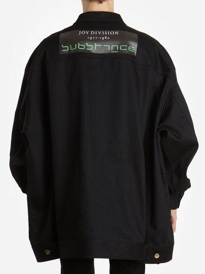 Raf Simons Men's Black Joy Division And Peter Saville Printed Denim Jacket