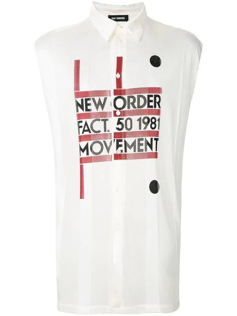 Raf Simons Sleeveless New Order Mesh Shirt In White In Off