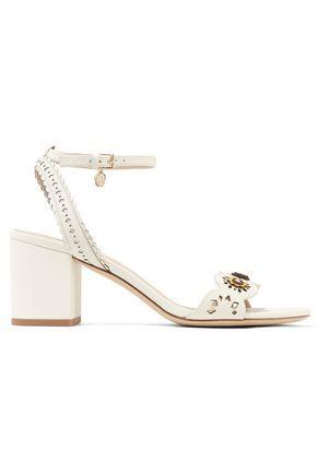 151a61bb455b Tory Burch Woman Marguerite Floral-AppliquÉD Laser-Cut Leather Sandals Ivory