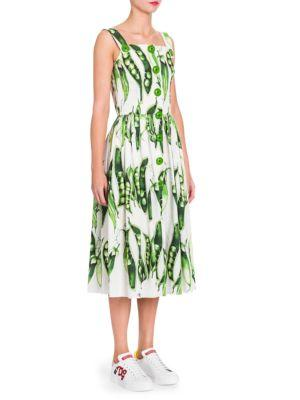 a95b34c9474 Dolce   Gabbana Sleeveless Button-Front Pea-Print Cotton Poplin Midi Day  Dress In