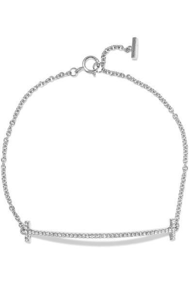 93db1e26a Tiffany & Co T Smile 18-Karat White Gold Diamond Bracelet | ModeSens