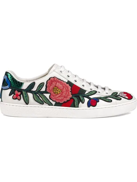 ba64ecc59 Gucci Ace Watersnake-Trimmed AppliquÉD Leather Sneakers In White ...