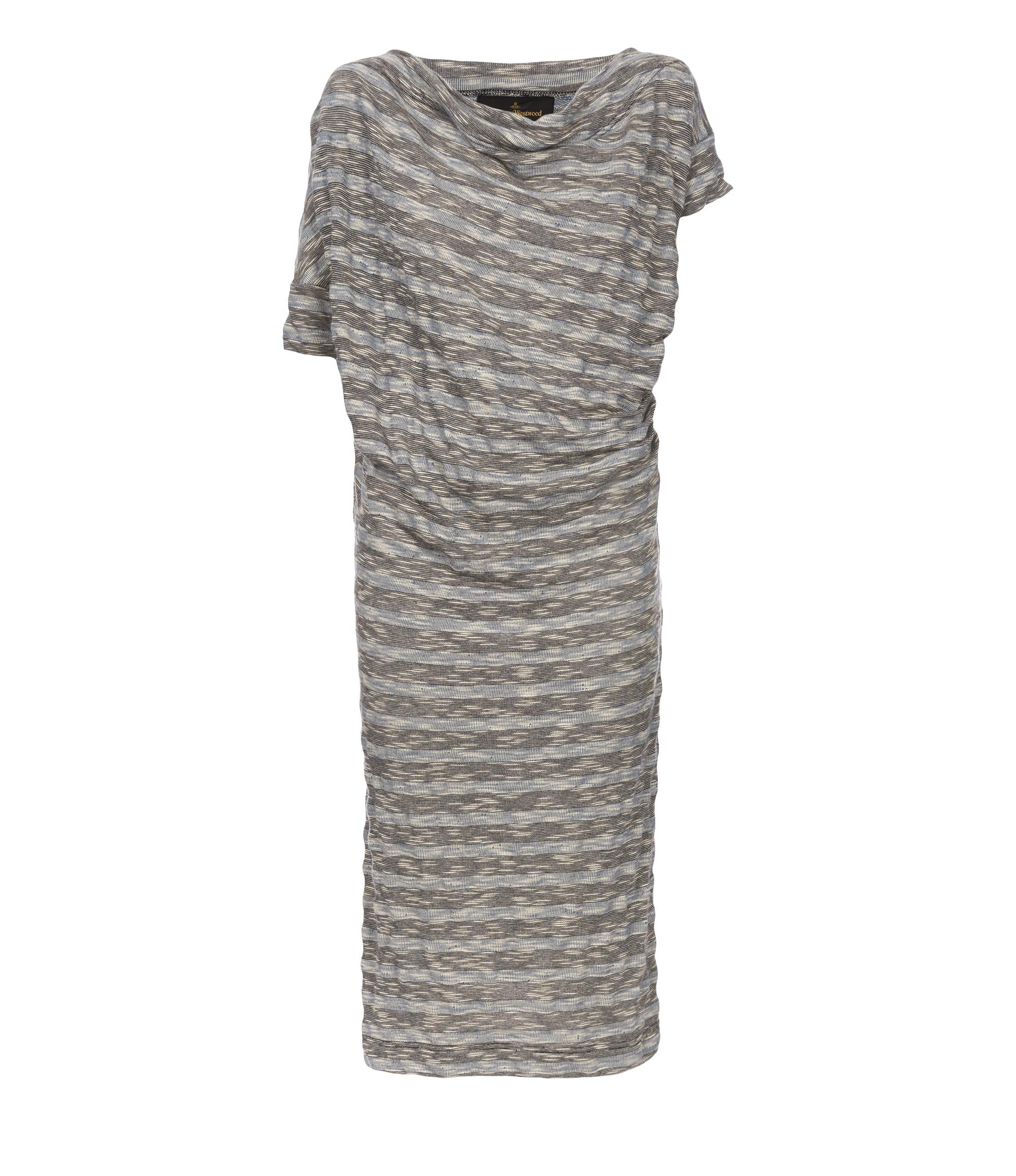 Vivienne Westwood Striped Draped Dress Blue In Light Blue
