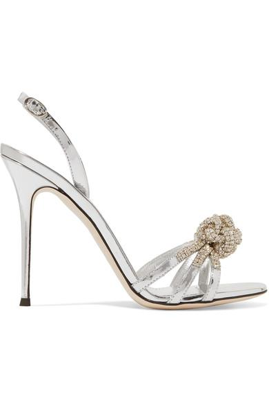 Giuseppe Zanotti Mistico Crystal-Embellished Metallic Leather Sandals In Silver