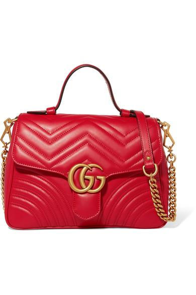 Gucci Gg Marmont Small Quilted Leather Shoulder Bag In Red