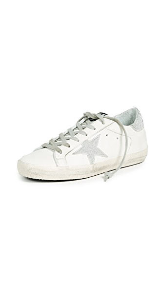 Golden Goose Superstar White Leather Sneakers With Crystals In White/Silver