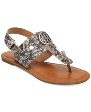 Tommy Hilfiger Kandess Flat Thong Sandals, Medium Natural