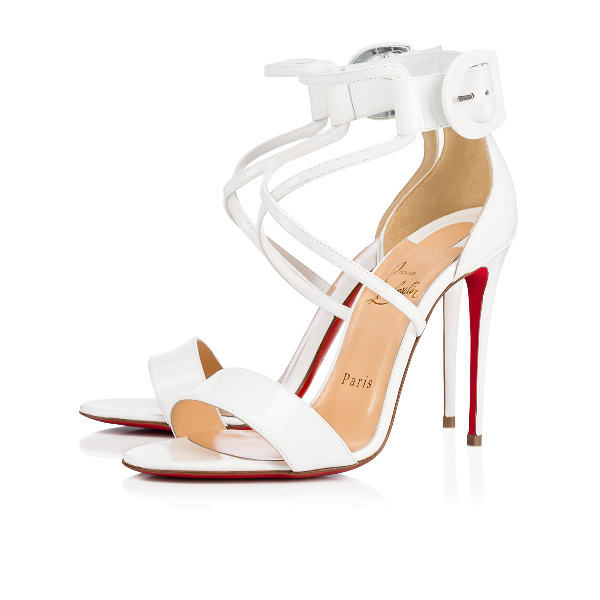 7a1373c39a3 Choca Patent Red Sole Sandal, White in Latte