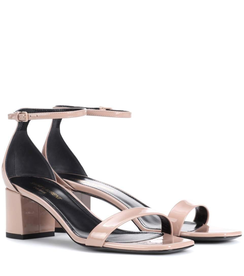 Saint Laurent Patent Leather Sandals In Beige