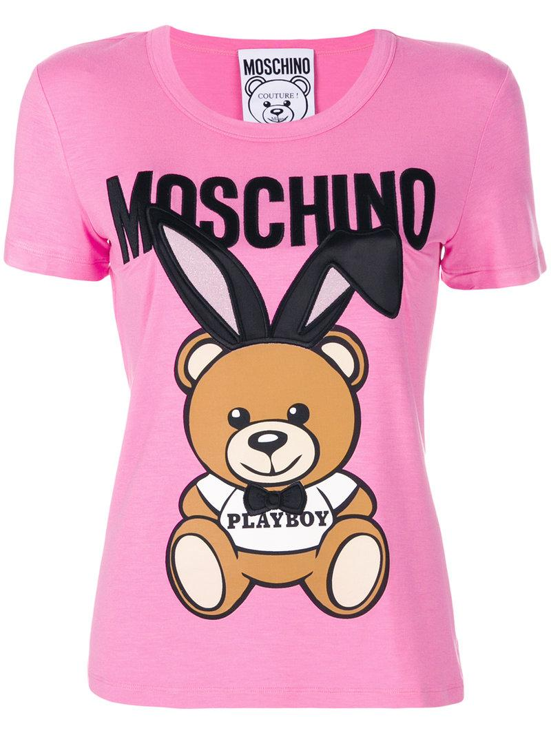 fe5cabb2 Moschino Teddy Playboy Embroidered Jersey T-Shirt In Pink & Purple ...