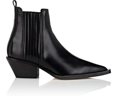 Helmut Lang Leather Cowboy Ankle Boots In Black