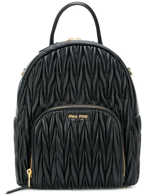 Miu Miu MatelassÉ Leather Backpack In Black