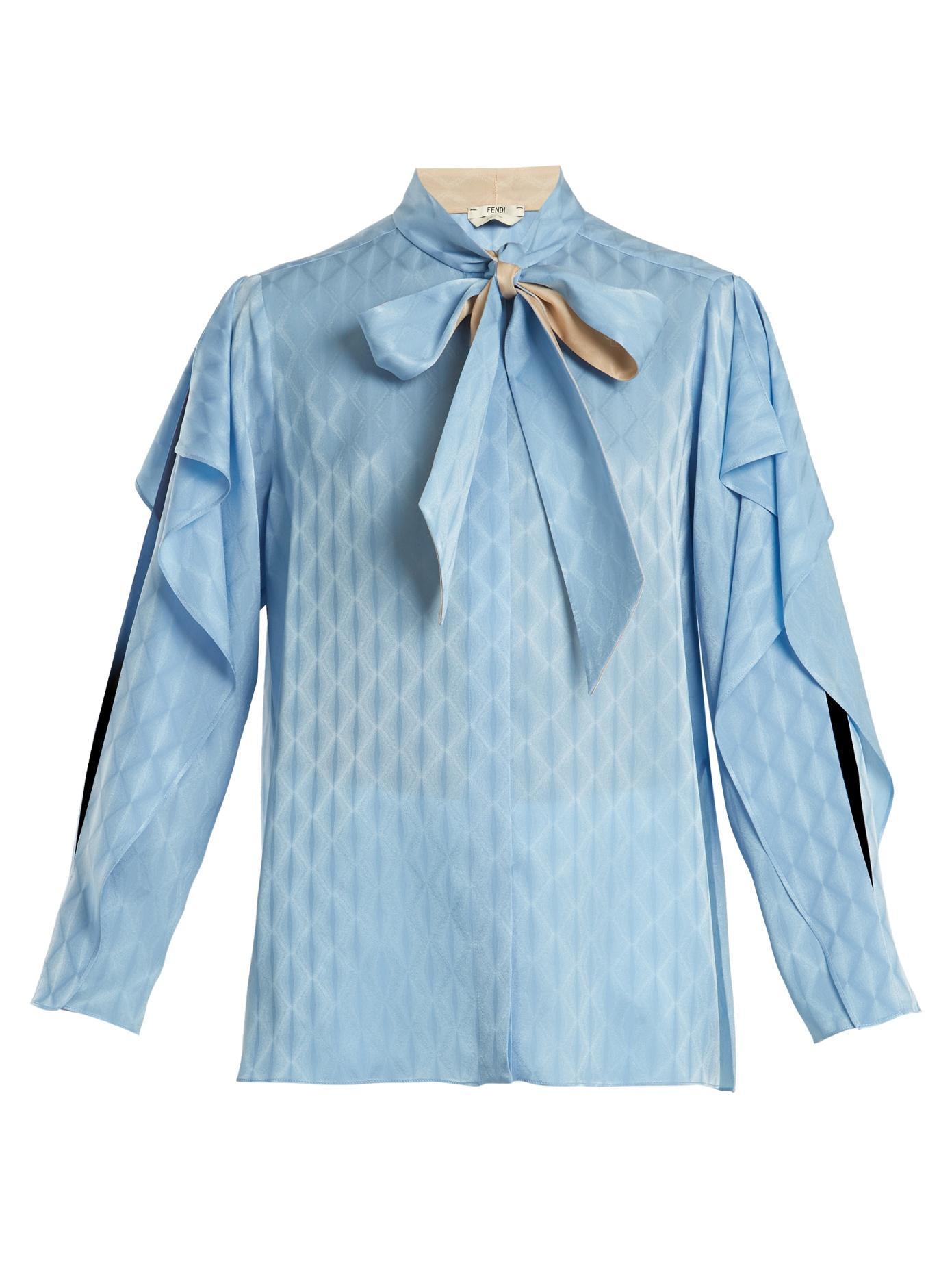 Fendi Tie-Neck Ruffle-Trimmed Silk Blouse In Blue