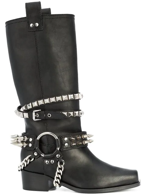 07077e01324 Women's Studded Leather Tall Boots in Black