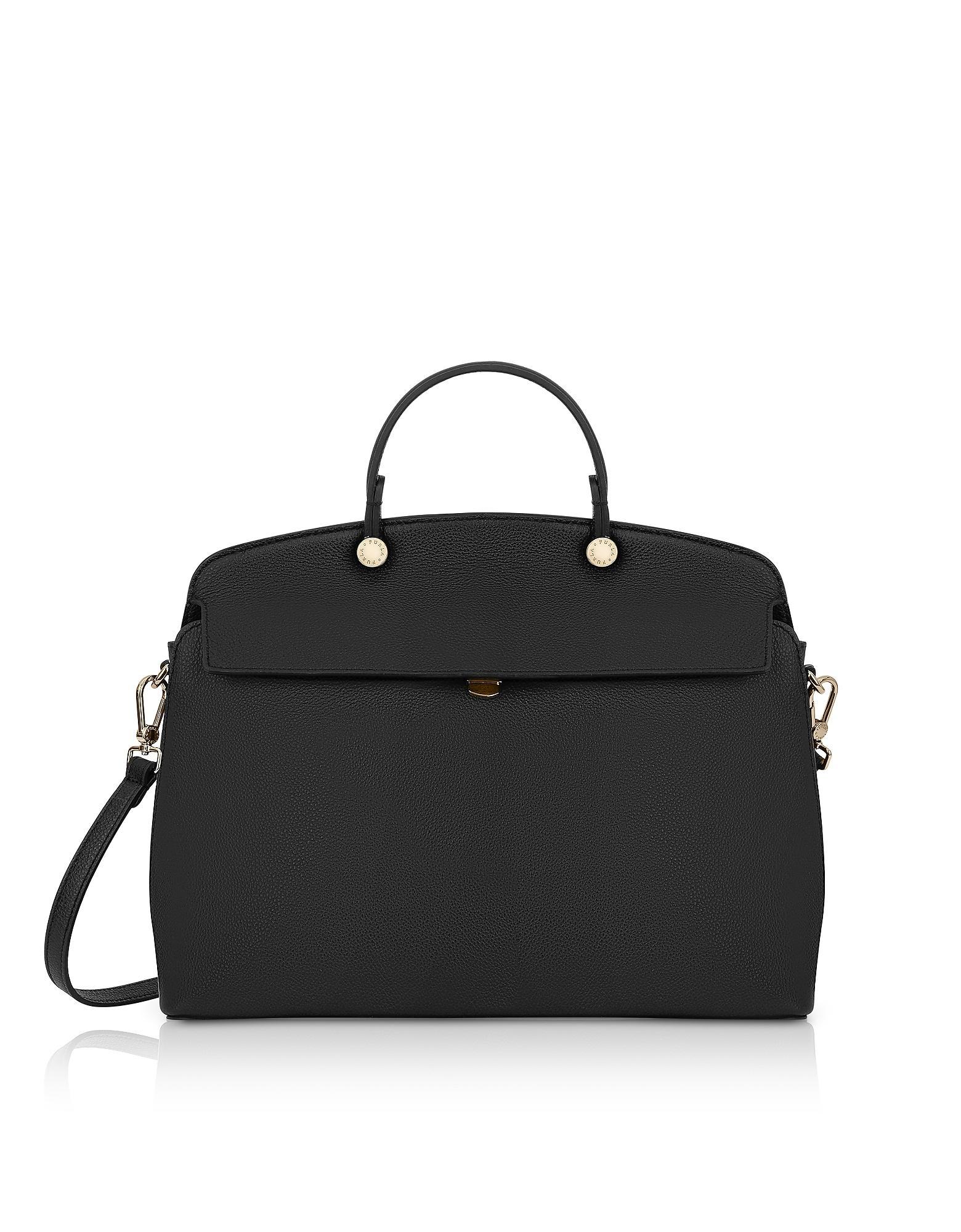 Furla Onyx Leather My Piper Medium Top Handle Satchel Bag In Black