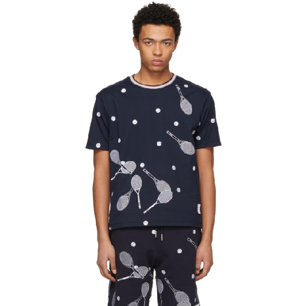 Thom Browne Racket Embroidered Cotton-Jersey T-Shirt In Navy In 415 Navy