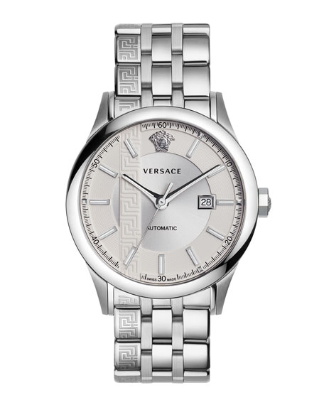 Versace 44Mm Aiakos Men's Automatic Watch With Bracelet In Silver