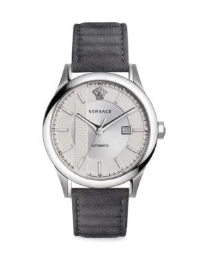 Versace 44Mm Aiakos Men's Automatic Watch With Gray Leather Strap In Grey