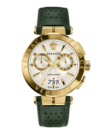 Versace Aion Chronograph Watch With Green Leather Strap In Grey/ Silver/ Gold