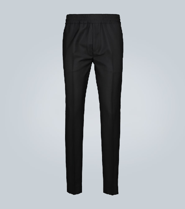 Acne Studios Ryder Slim-fit Tapered Wool And Mohair-blend Drawstring Trousers In Black