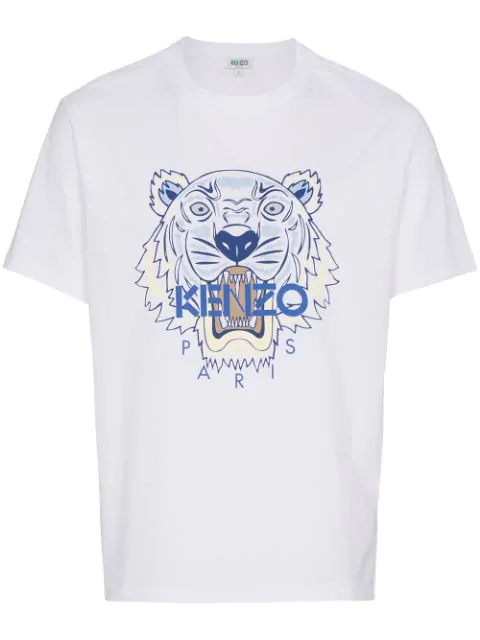 Kenzo Tiger Head Print Short Sleeve T-shirt In 01.white