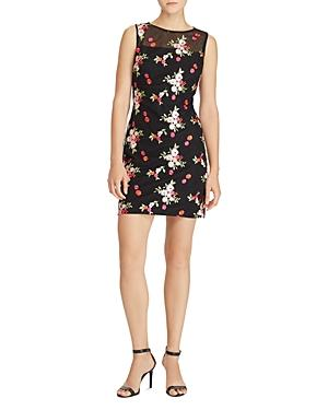Ralph Lauren Lauren  Floral Embroidered Dress In Black/Multi