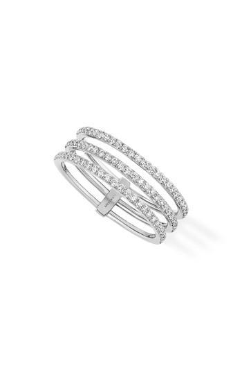 Messika Gatsby 3-Row Diamond Ring In White Gold