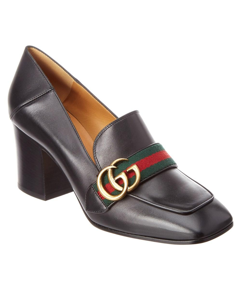 6d5e26f9c0f7 Gucci Gg Web Leather Mid-Heel Loafer In Black
