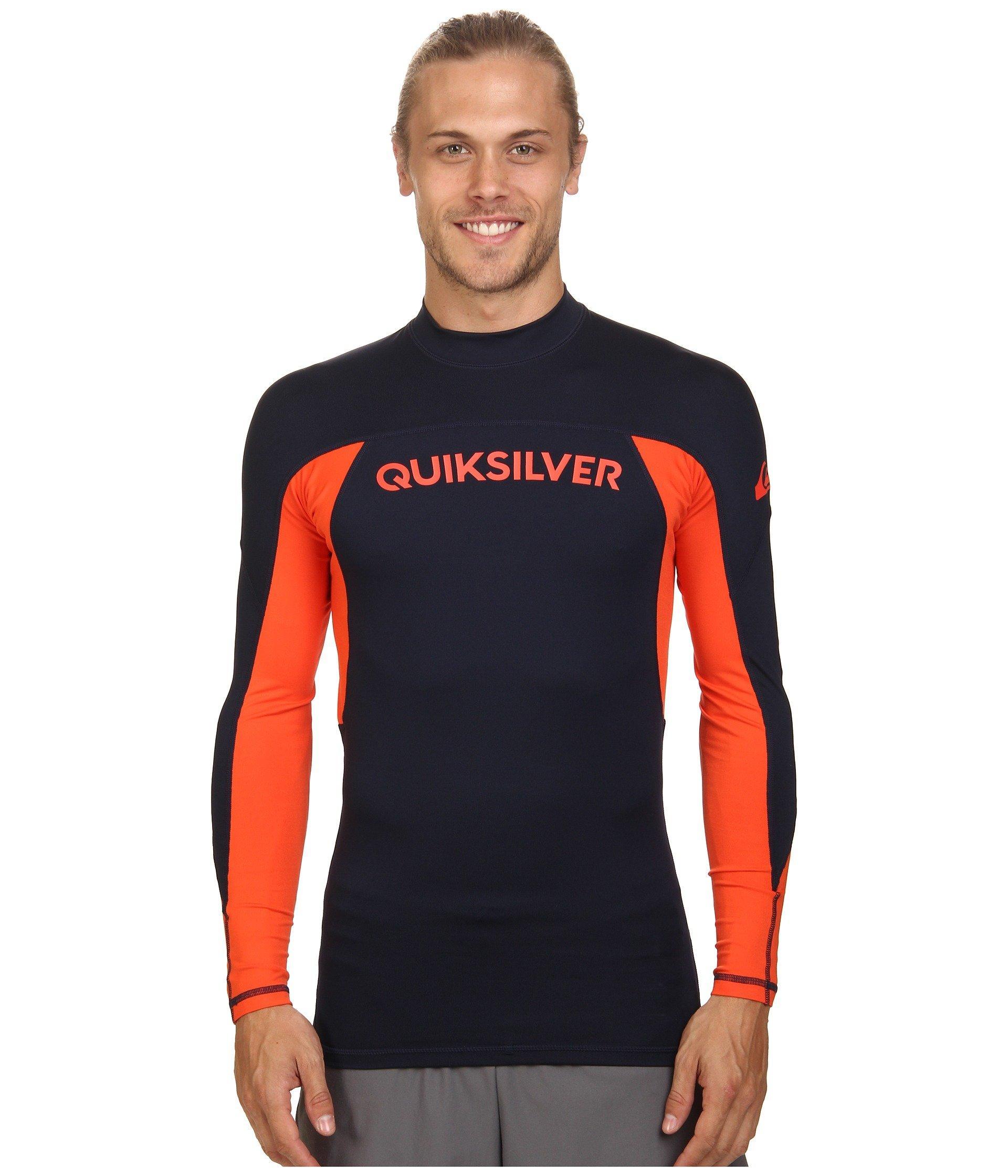 553b499b23 Quiksilver Performer Long Sleeve Rashguard Surf Tee In Navy Blazer/Mandarin  Red