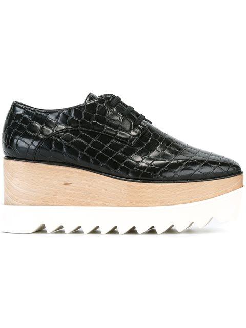 Stella Mccartney Women's Elyse Faux Crocodile Platform Shoes In Brown In Black