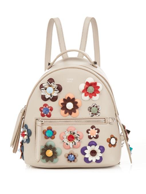 420eccfc85d2 Fendi Embellished Floral-AppliquÉ Mini Leather Backpack In Taupe-Grey