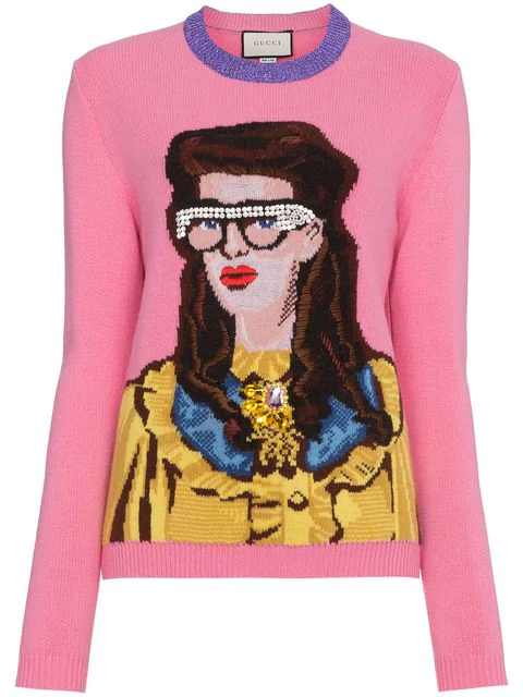 8399fc0ee Gucci Bejewelled Woman Intarsia Knit Sweater In Pink | ModeSens