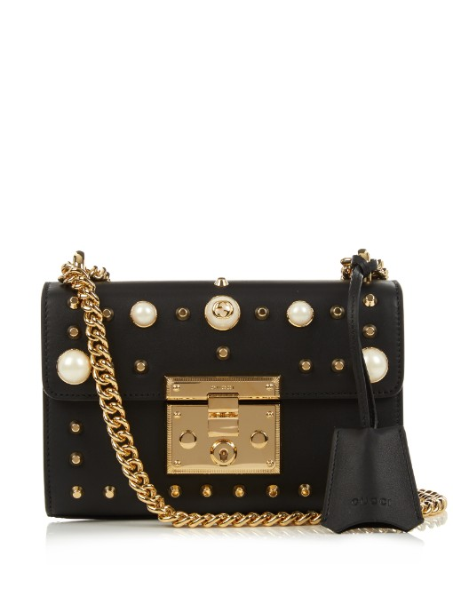 Gucci Padlock Small Faux Pearl-Embellished Studded Leather Shoulder Bag In  Black