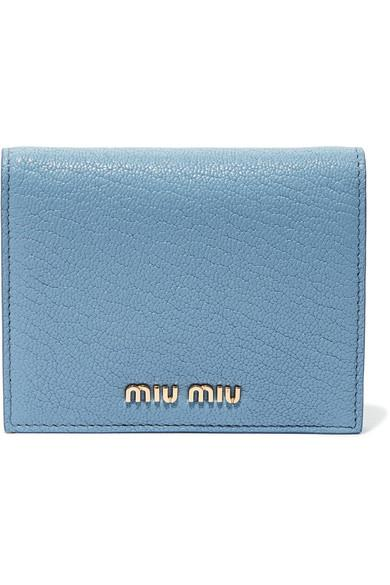 4c4ded409abb Miu Miu Textured-Leather Wallet In Light Blue