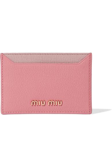 347f56aaf88b Miu Miu Two-Tone Textured-Leather Cardholder In Pink