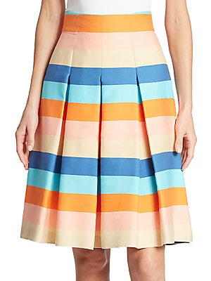 Akris Striped Cotton Blend Skirt In Turquoise