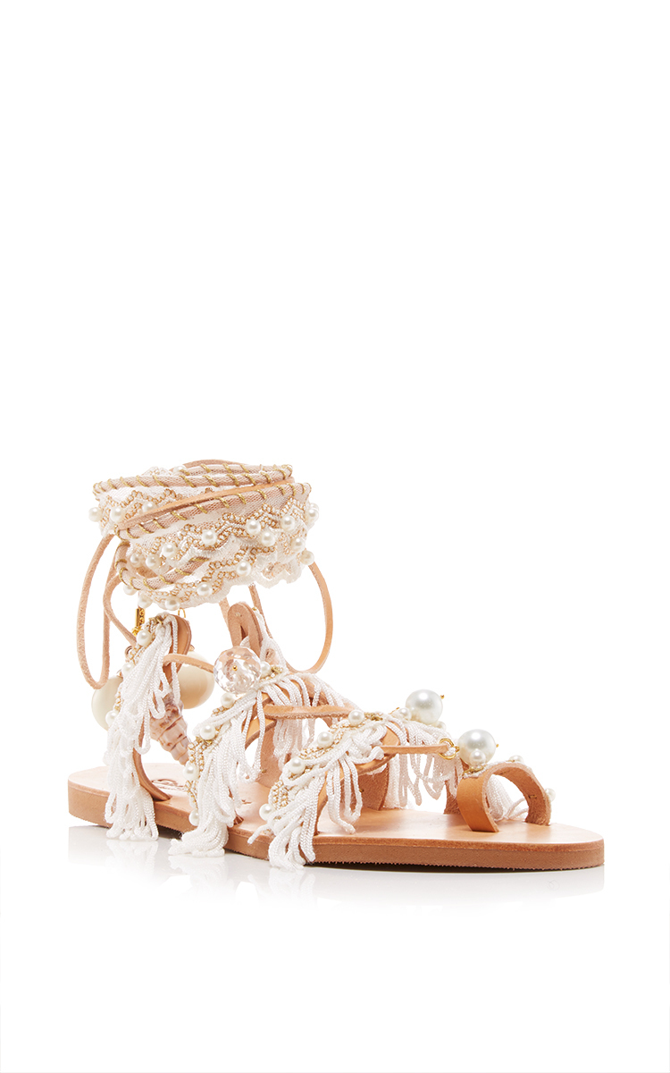 Elina Linardaki Ever After Embellished Leather Lace-up Sandals In White