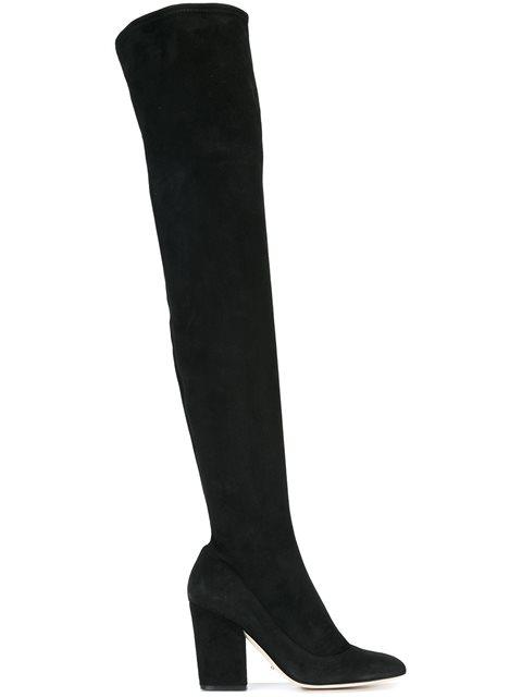 Sergio Rossi Virginia Stretch-Suede Over-The-Knee Block-Heel Boots In Black