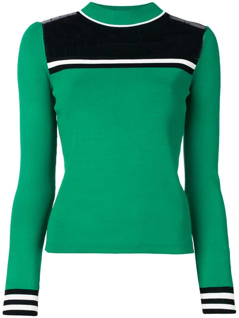 Red Valentino Striped Ribbed-Knit Sweater In Green Multi